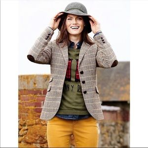 Talbots wool blend blazer elbow patches size 10P